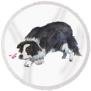 The Collie And Pink Butterfly Round Beach Towel