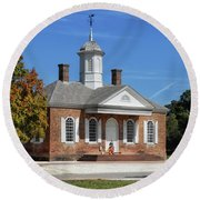 The Colonial Williamsburg Courthouse Round Beach Towel