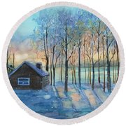 The Color Of Winter Is White ? Round Beach Towel