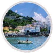 The Colorful Amalfi Coast  Round Beach Towel