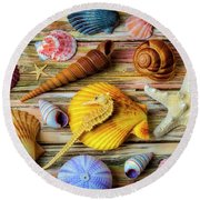 The Colors And Shapes Of The Sea Round Beach Towel