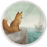 The Day The Antlered Ship Arrived Round Beach Towel