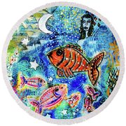The Day The Stars Fell Into The Ocean Round Beach Towel
