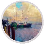 The Docks At Cape May Round Beach Towel