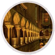 Round Beach Towel featuring the photograph The Doge's Palace -- Venice by Tim Bryan