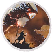 Round Beach Towel featuring the painting The Dragon Wizard by Tithi Luadthong