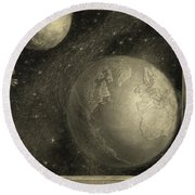 The Earth With The Milky Way And Moon, 1918 Round Beach Towel