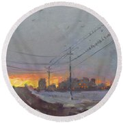 The End Of A Gray Day Round Beach Towel