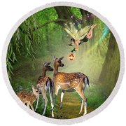 The Fairy Of The Forest Round Beach Towel