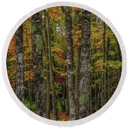The Fall Woods Round Beach Towel
