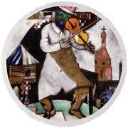 The Fiddler - Le Violoniste,  1912-1913 Round Beach Towel