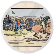 Round Beach Towel featuring the painting the Finishing post. Omey, by Val Byrne