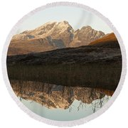 Round Beach Towel featuring the photograph The First Hint Of Winter At Loch Cill Chriosd by Stephen Taylor