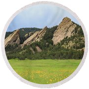 The Flat Irons In Spring Round Beach Towel