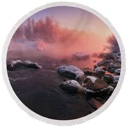 The Fragment Of Frosty Morning Round Beach Towel
