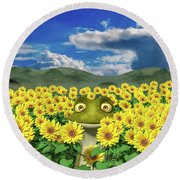 The Friendly Frog Round Beach Towel
