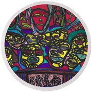 Gathering Of The Multitude Round Beach Towel