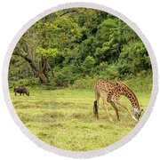 Round Beach Towel featuring the photograph The Giraffe And The Cape Buffalo by Kay Brewer
