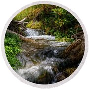 Round Beach Towel featuring the photograph The Giving Stream by TL Mair