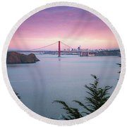 The Golden City  Round Beach Towel