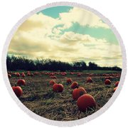 Round Beach Towel featuring the photograph The Great Pumpkin by Candice Trimble