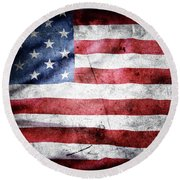 The Grunge American Flag Round Beach Towel