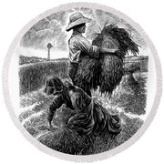 The Harvesters - Bw Round Beach Towel