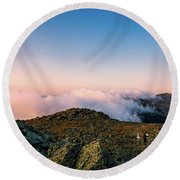 The Hiker - Mt Jefferson, Nh Round Beach Towel