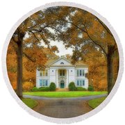 The Hoge Building At Berry College Round Beach Towel