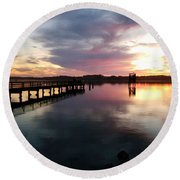 The Hollering Place Pier At Sunset Round Beach Towel