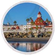 Round Beach Towel featuring the photograph The Hotel Del Coronado San Diego by Robert Bellomy