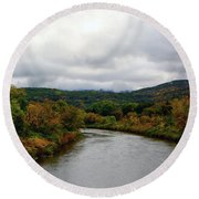 Round Beach Towel featuring the photograph The Housatonic River From A Bridge In Adams Ma by Raymond Salani III