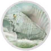 The Island Of Giant Shells Round Beach Towel