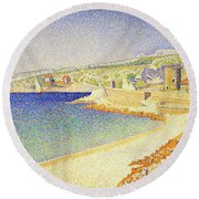 The Jetty At Cassis - Digital Remastered Edition Round Beach Towel