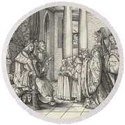 The King Receiving His Daughter Margaret And The Children Of King Philip Round Beach Towel