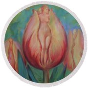 The Lady In The Tulip Round Beach Towel