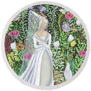 The Lady Vanity Takes A Break From Mirroring To Dream Of An Unusual Garden  Round Beach Towel