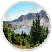 Round Beach Towel featuring the photograph The Lakes Of Medicine Bow Peak by Nicole Lloyd