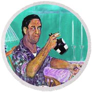 The Last Breakfast Of Jack Kerouac Round Beach Towel