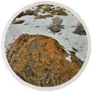 The Lichen Covered Boulders Of The Book Cliffs Round Beach Towel