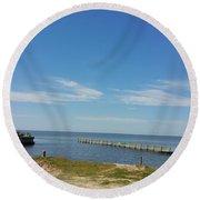 The Lighthouse Biloxi Ms Round Beach Towel