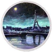 The Lights Of Paris Round Beach Towel