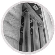 Round Beach Towel featuring the photograph The Lincoln Memorial Washington D. C. - Black And White Abstract Pillars Details 3 by Marianna Mills