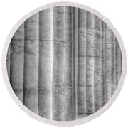 Round Beach Towel featuring the photograph The Lincoln Memorial Washington D. C. - Black And White Abstract Pillars Details 4 by Marianna Mills