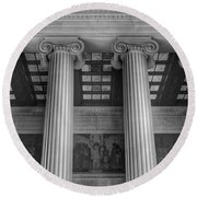 Round Beach Towel featuring the photograph The Lincoln Memorial Washington D. C. - Black And White Abstract Pillars Details 5 by Marianna Mills
