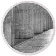 Round Beach Towel featuring the photograph The Lincoln Memorial Washington D. C. - Black And White Abstract Pillars Details 6 by Marianna Mills