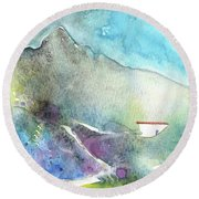 The Little House In Andalucia Round Beach Towel