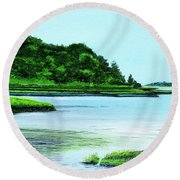 The Little River Gloucester, Ma Round Beach Towel