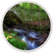 Round Beach Towel featuring the photograph The Lost Bridge by Bill Wakeley