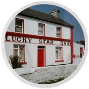 Round Beach Towel featuring the painting The Lucky Star Bar, Kilronan, Aran by Val Byrne
